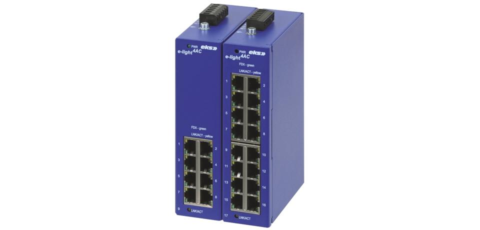 9 or 17 port unmanaged Ethernet switch, EL-1100-4AC