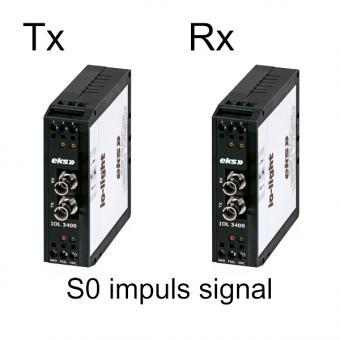 1x S0 impuls naar singlemode glasvezel omvormer, IOL3400 Rx Tx