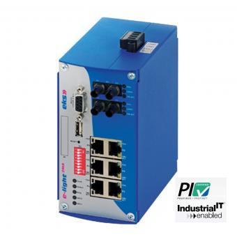 8 port managed Gigabit Ethernet to multimode fiber optic switch, EL100-2MA