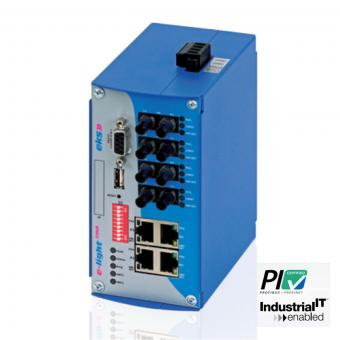 8 port managed Gigabit Ethernet to multimode fiber optic switch, EL100-2MA