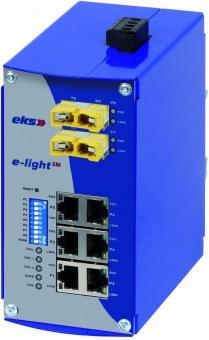 6TX-2FX Port managed Ethernet to multimode fiber optic switch, EL100-2M E2000