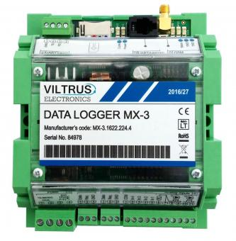 GPRS data logger with Modbus and M-Bus compatibility, MX-3